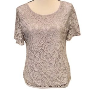 ADRIANNA PAPELL Top Lace Crochet Sheer Lined